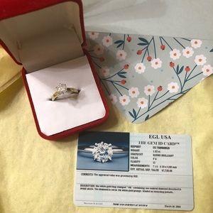 Jewelry - 14k White Gold 1.52ct Natural Diamond Ring SZ6 1/2